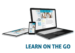 Learn on the go. - image of laptop, cell phone & tablet.