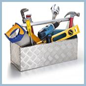 Tool box with hammer, saw, drill, plummers wrench, screwdriver, ruler, crescent wrench & level.
